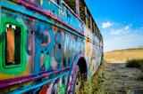 Abandoned and colorful graffiti bus.