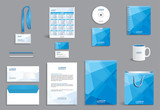 Business stationery set template, corporate identity design mock-up with abstract modern blue pattern - 126577064