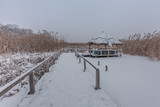 pontoon on the lake in winter