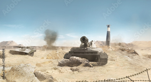 Desert war tanks battle scene with explosions, barbed wire & ruins background.