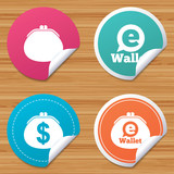 Round stickers or website banners. Electronic wallet icons. Dollar cash bag sign. eWallet symbol. Circle badges with bended corner. Vector