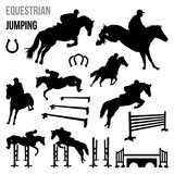 Equestrian Jumping Race Horse Agility with Poles Silhouette Set - 126591094