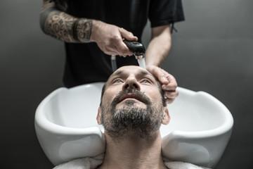 Washing head in barbershop