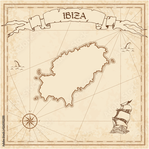 Ibiza old treasure map. Sepia engraved template of pirate island parchment. Stylized manuscript on vintage paper.