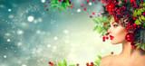 Fototapety Christmas hairstyle. Holiday makeup closeup