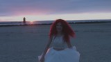 4k Shot of a Redhead Bride on the Beach