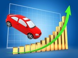 3d illustration of car over blue grid background with golden bars and green rising arrow