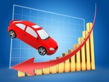 3d illustration of car over blue grid background with golden bars and arrow down