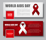 Set of web banners for the social network. Templates with a white and red ribbon for World AIDS Day. Vector illustration