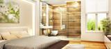 Beautiful bedroom and modern bathroom