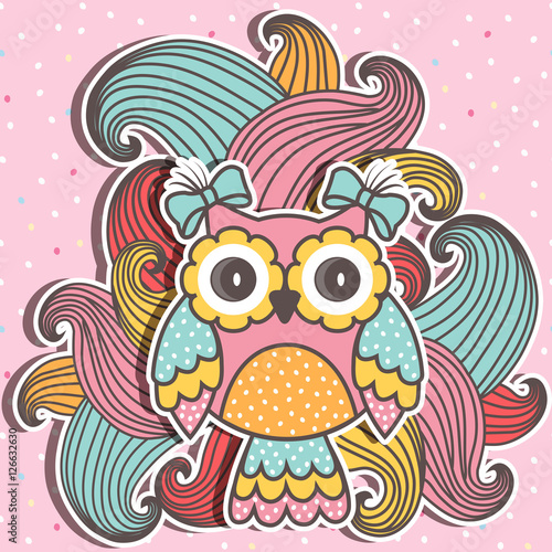 Papiers peints Hibou Beautiful, cute owl with swirls on a pink background