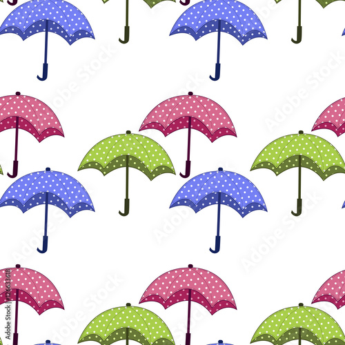 Papiers peints Hibou seamless pattern with umbrellas on a white background