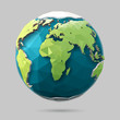 Vector low poly earth illustration. Polygonal globe icon.