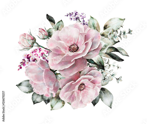watercolor flowers. floral illustration, flower in Pastel colors, pink rose. branch of flowers isolated on white background. Leaf and buds. Cute composition for wedding or  greeting card - 126678257