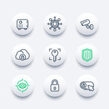 Security line icons set, secure transaction, lock, shield, strongbox, video surveillance, authentication, biometric recognition, online security, safety