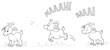 Vektor Illustration von drei Ziegen in unterschiedlichen Positionen