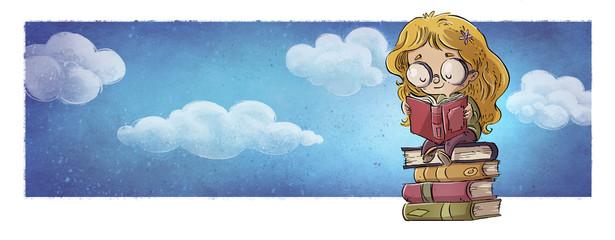 niña leyendo un libro en el cielo