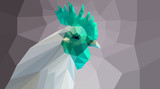green polygonal cock head