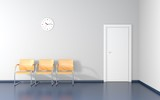 Three yellow stools and wall clock in the waiting room - 126695672