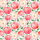 Seamless pattern with hand drawn watercolor apples on white background - 126699008