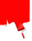 Anstrich mit Farbroller - Rote Fläche mit Textur