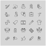 Outline icons set - aids, hiv, therapy, opportunistic disease, treatment