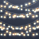 Fototapety Christmas glowing  garlands, holiday bright decorations. Isolate