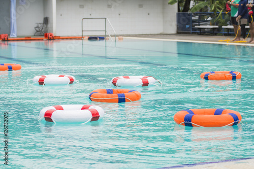 Ring Buoy Floating In The Pool In Training Water Rescue Course Buy Photos Ap Images Detailview