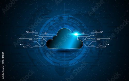 Poster abstract vector cloud technology internet data services concept innovation design background
