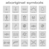 set of monochrome icons with symbols of Australian aboriginal art for your design