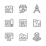 Set line icons of architectural - 126745086