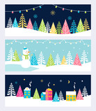 Christmas and Winter Holidays Events Festive Backgrounds, Banners or Headers with Landscape, Snowman, Trees and Christmas Lights