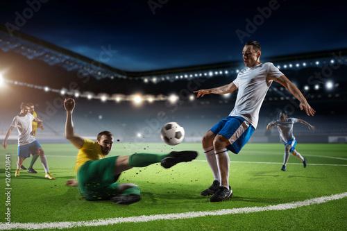 Football match at arena . Mixed media