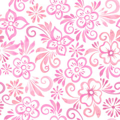 pink watercolor flowers seamless pattern