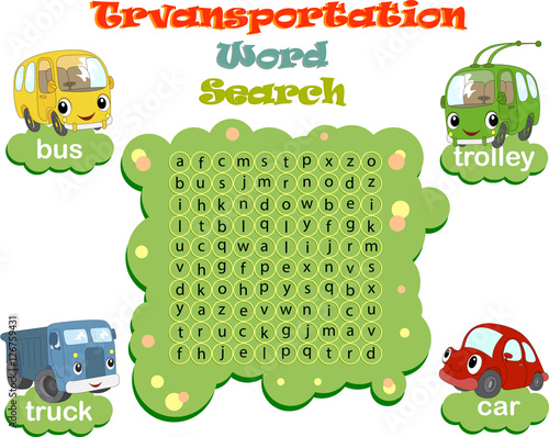 Tuinposter Op straat Logic game for learning English. Find the hidden words by vertic