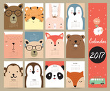 Fototapety Colorful cute monthly calendar 2017 with bear,penguin,monkey and