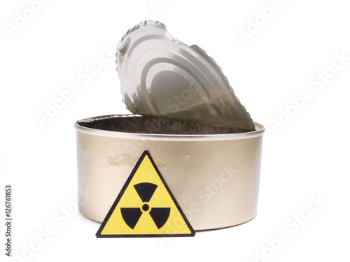Poster Tin and radiation sign on a white background