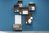 Medium vertical poster under bookshelves in blue room