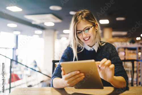 Student studying on tablet