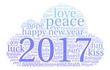Happy New Year 2017 word cloud on a white background.