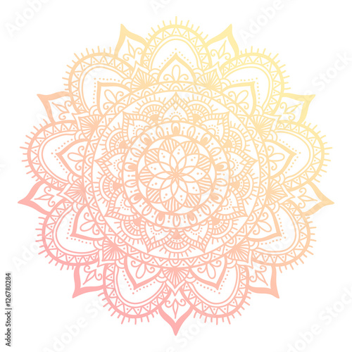 Outline flower mandala. decorative ornament. floral design element. flower vector mandala. hippie stuff. Pink gradient colors. - 126780284