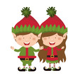 color image with couple of christmas gnome children vector illustration