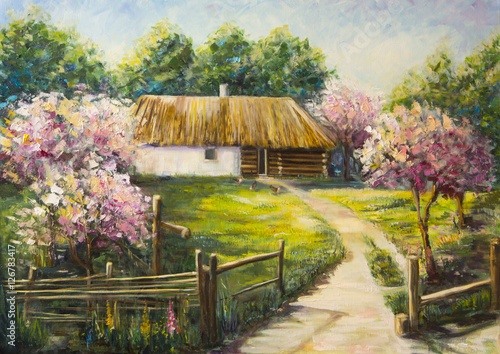 Art Oil-Painting Picture Blooming Garden © shvets_tetiana