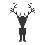 silhouette monochrome with reindeer of big head vector illustration