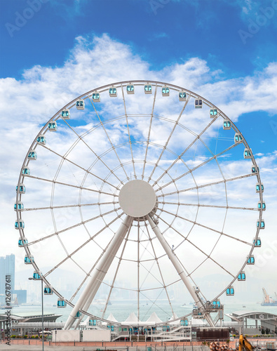 Poster Giant Ferris Wheel in Hong Kong Overlooking Victoria Harbor