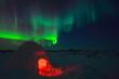 Igloo and Aurora Borealis