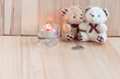 Quadro Embrace Bears in love, propose Engage ring sit near Candlestick, set for celebrating in engagement party, Valentine concept