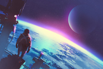 sci-fi concept of the man looking at surface of the earth from a space,illustration painting © grandfailure