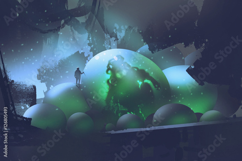 the man standing on glowing eggs with a monster inside,sci-fi concept,illustration painting © grandfailure
