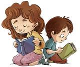 niño y niña leyendo libros